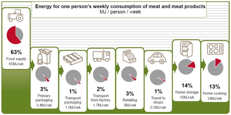 Energiegebruik in de vleesketen.