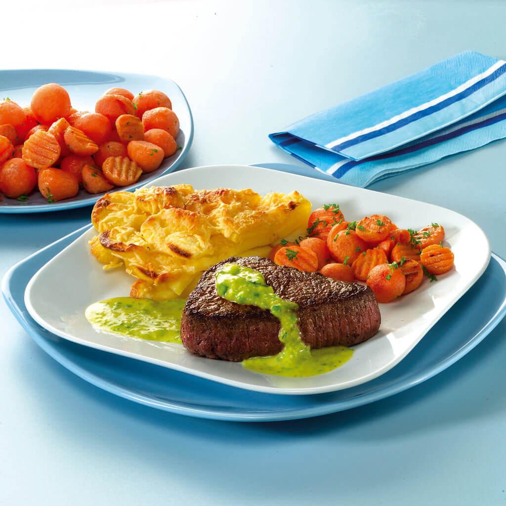 Biefstuk met knoflook-preisaus