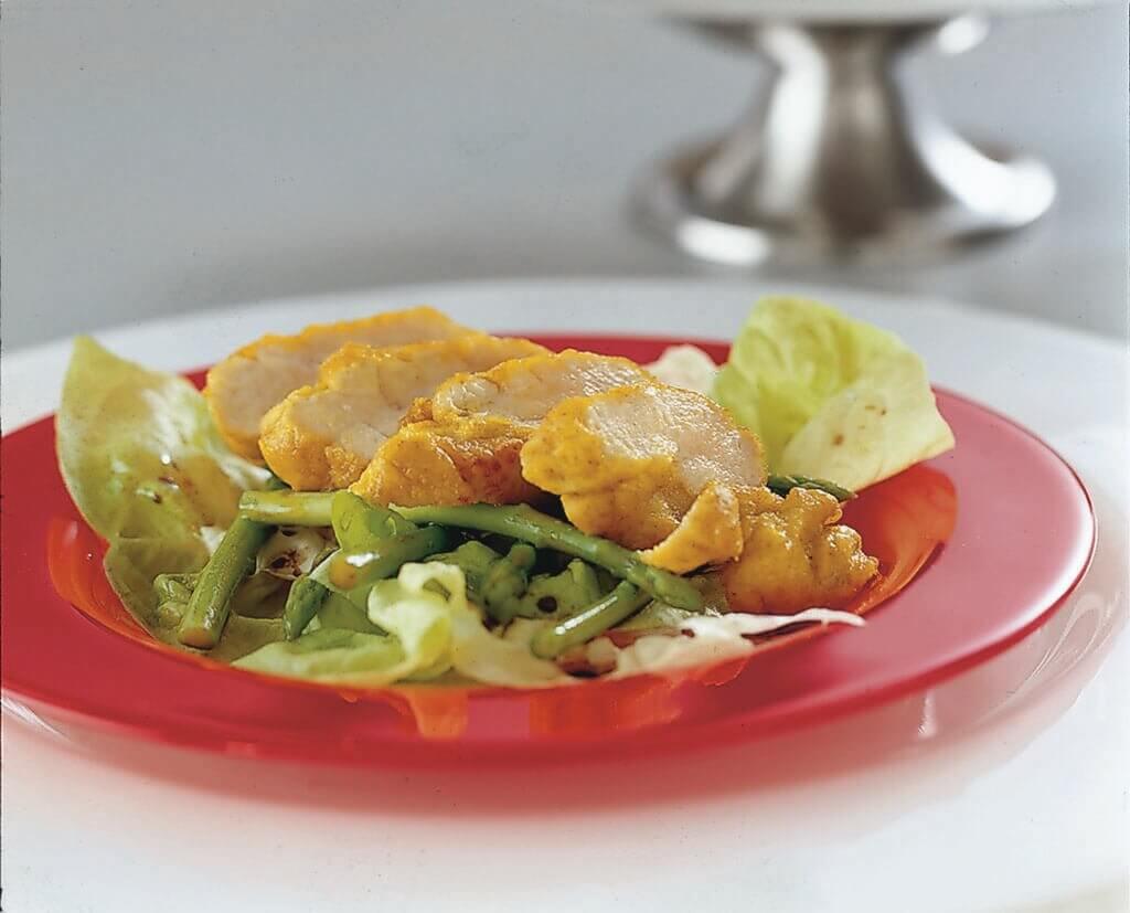 Kalfszwezerik met groene salade en asperges