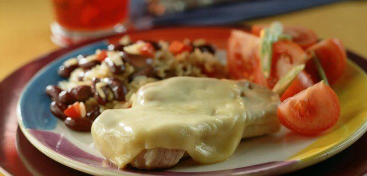 Mexicaans gekruide filetlapjes gegrat. met Cheddar