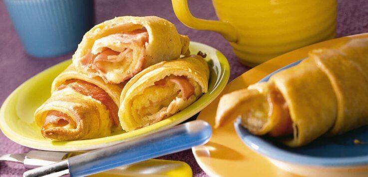 Mini ham-kaas-banaancroissantje