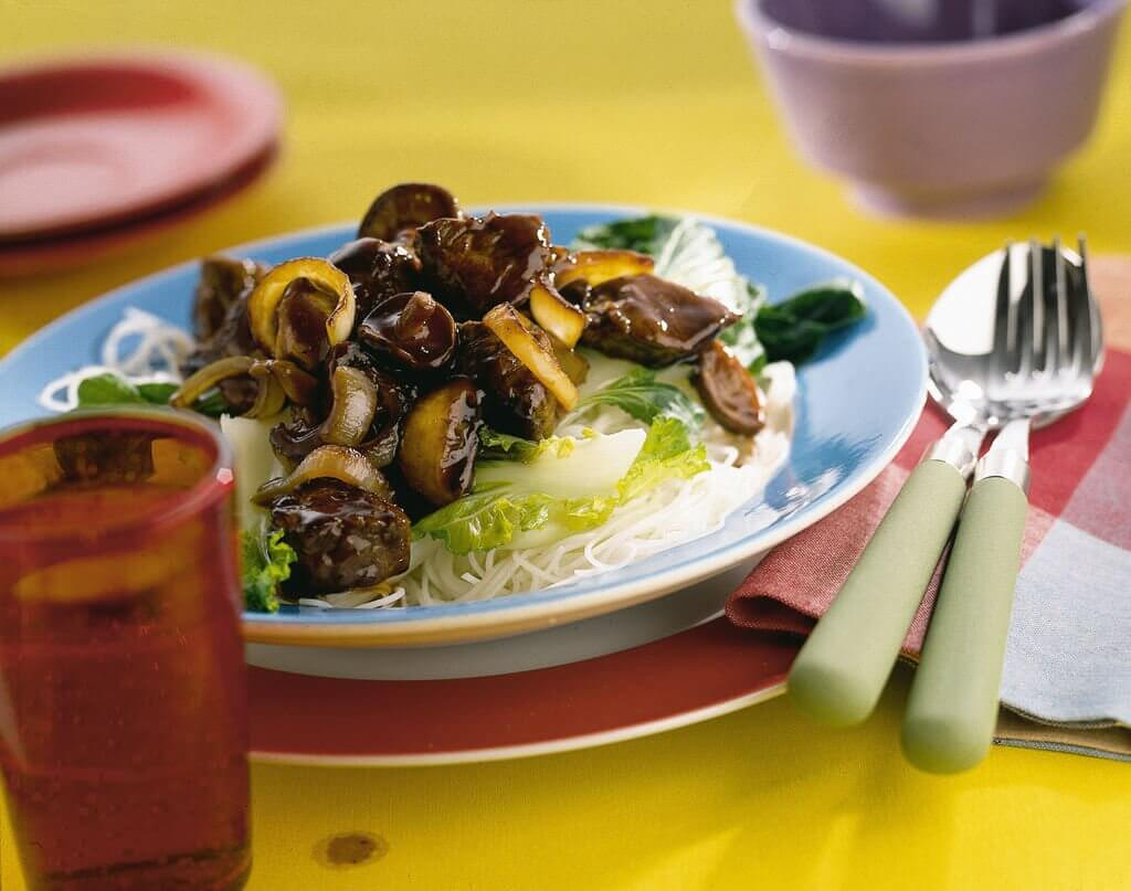 Roergebakken biefstuk met shii-take paddenstoelen