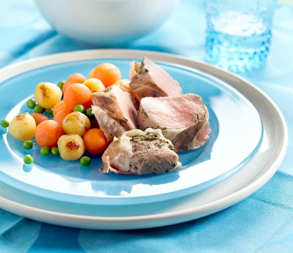 Varkenshaasje met pesto en ham