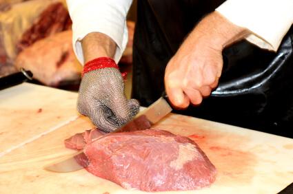 vlees snijden beschermende handschoen mes slager